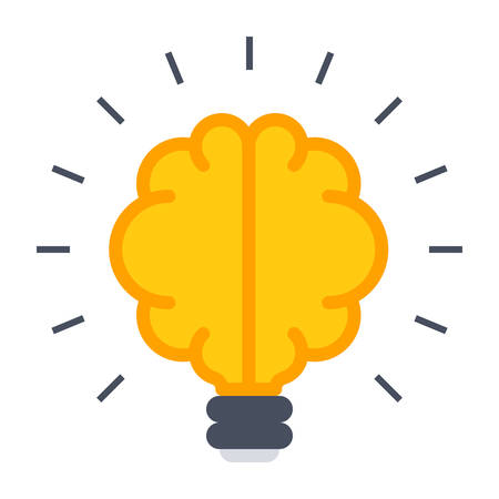 invent: Smart idea concept with brain in flat style.