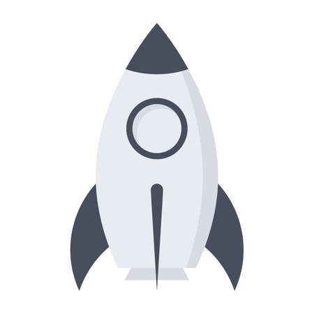 Prototype product concept with rocket in flat style.
