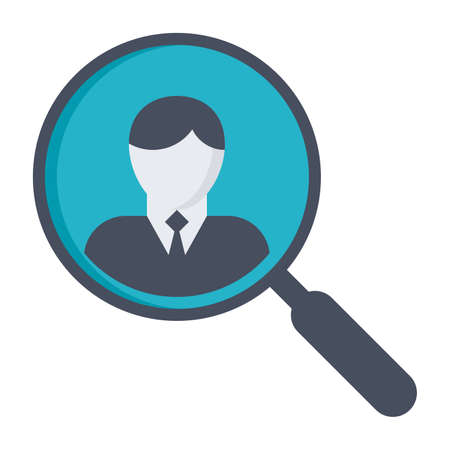 finding: Concept of finding professional staff with magnifying glass.