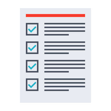 completed: Tasks completed concept with todo list in flat style. Stock Photo