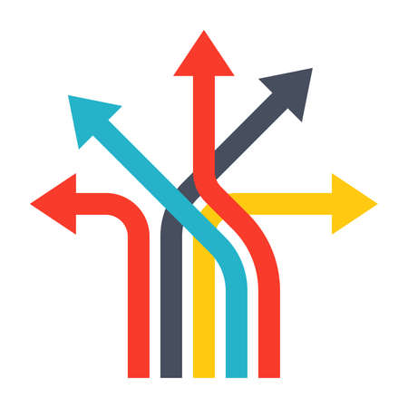 flechas direccion: decisiones de negocio concepto con las flechas en estilo plano. Foto de archivo
