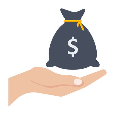 hands holding sign: Hand and money bag in flat style.