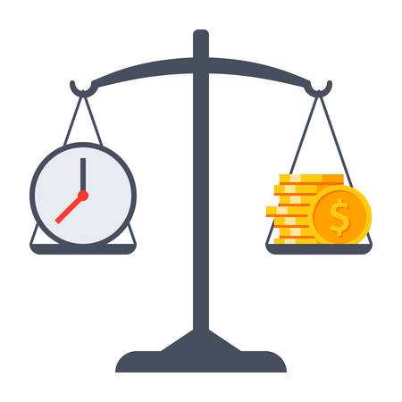 business decisions: Business decisions concept with time and money on scales. Illustration