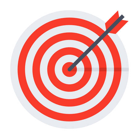 arrow circles: Arrow hit goal ring in red target. Illustration