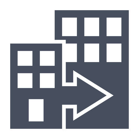 corporations: Mergers and acquisitions concept with office buildings.