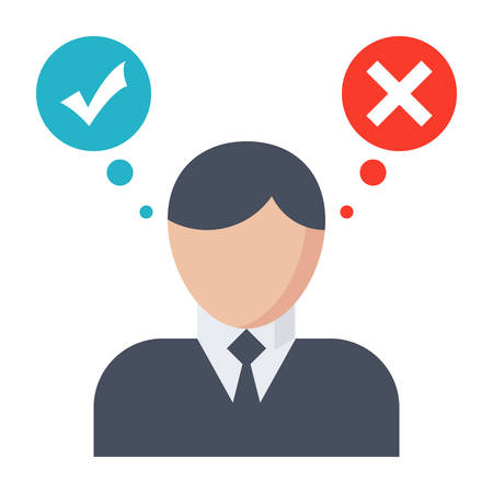 check symbol: Decision making concept with businessman in flat style.