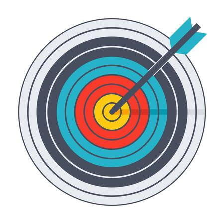 Arrow hit goal ring in archery target.
