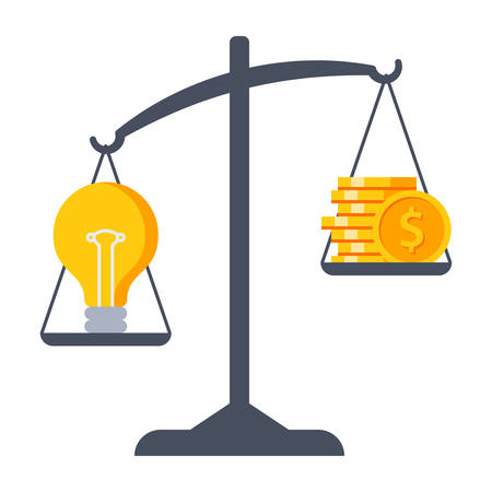 weigher: Business decisions concept with idea and money on Scales. Illustration