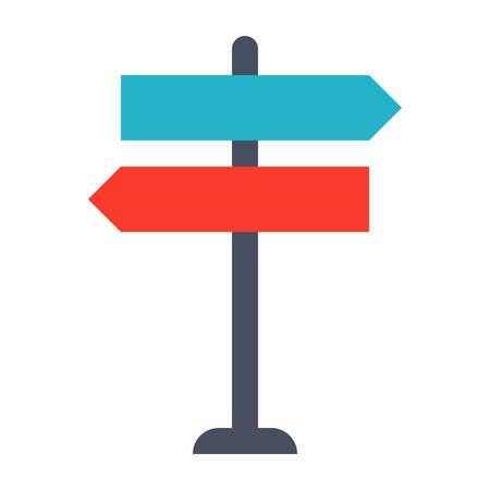 decision: Decision making Concept with direction arrow sign.