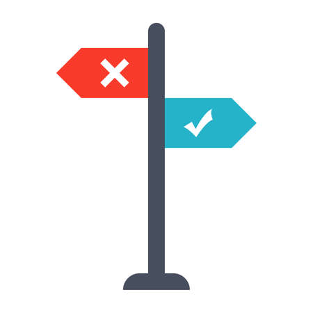 uncertain: Decision making Concept with direction arrow sign.