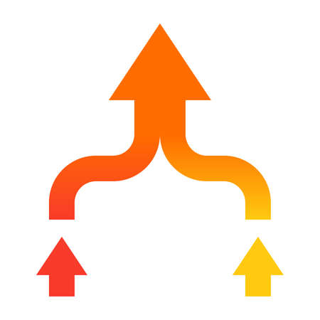 mergers: Mergers and acquisitions concept with arrows in flat style.