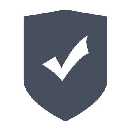 internet mark: Protection Concept with shield and check mark in flat style.