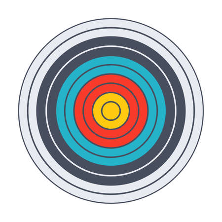 precise: Archery target with colored bands in flat style.