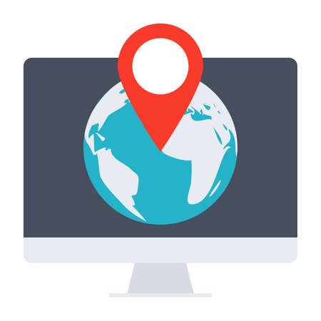 pin icon: Location concept with computer, globe and pointer. Stock Photo