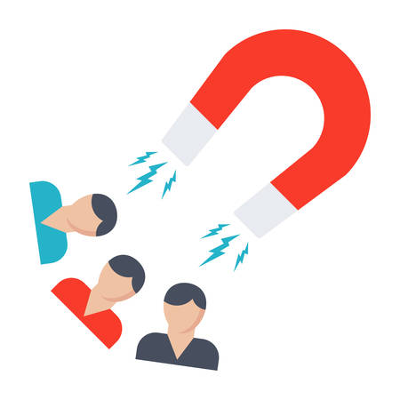 Attracting customers concept with people and magnet in flat style. Illustration