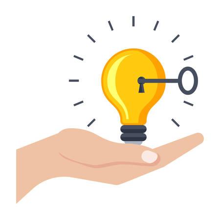 Lösungskonzept mit Glühbirne, Schlüssel und Hand.