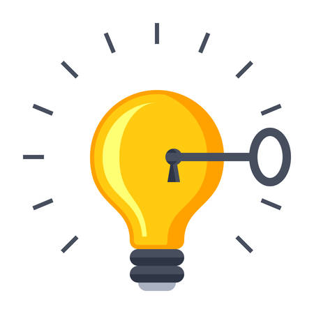 Solution concept with light bulb and key. Stock Illustratie