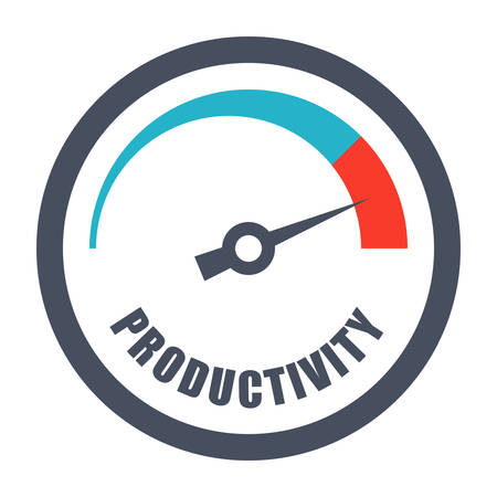 increases: Increase productivity concept with tachometer and text productivity. Illustration