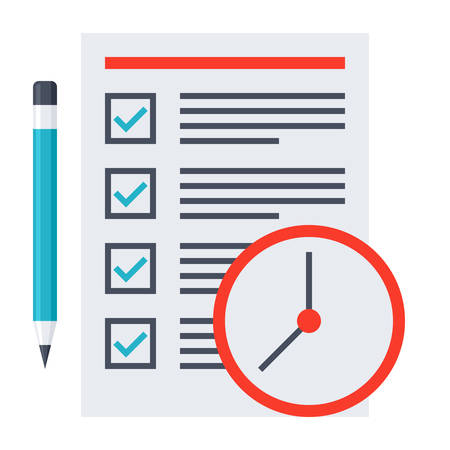 prioritization: Time management concept with document, pencil and clock.