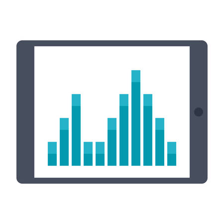 financial analysis: Tablet with financial analysis and statistics on screen. Illustration