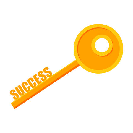 Key to success concept with key and text success.