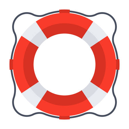 swims: Business rescue concept with lifebuoy in flat style.