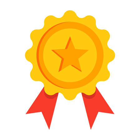 Gold award with red ribbon in flat style. Illustration