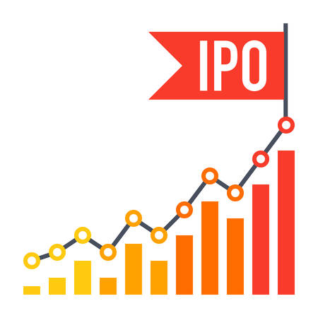 global finance: IPO concept with line chart and flag in flat style.