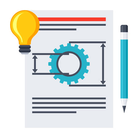 requirements: Product requirements document with idea and pencil. Illustration