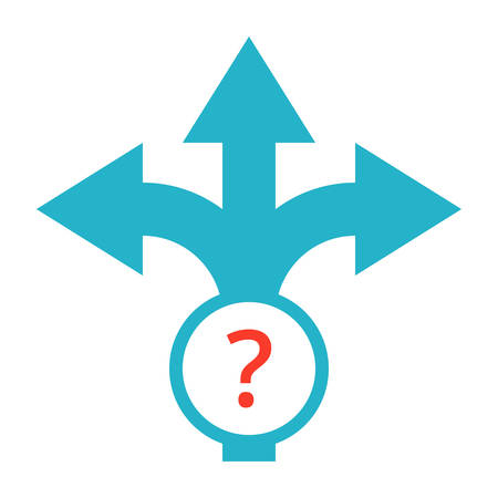 uncertainty: Strategic planning or decision making concept with direction arrow sign. Illustration