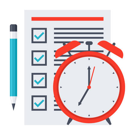 prioritization: Time management concept with document, pencil and alarm clock.
