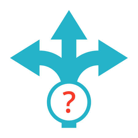 street symbols: Strategic planning or decision making concept with direction arrow sign. Stock Photo