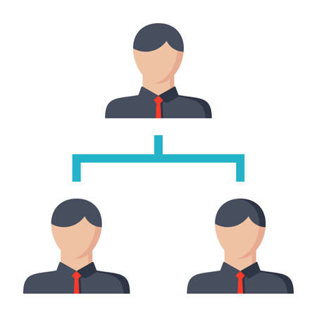 manager team: Hierarchy concept with symbol people in flat style.