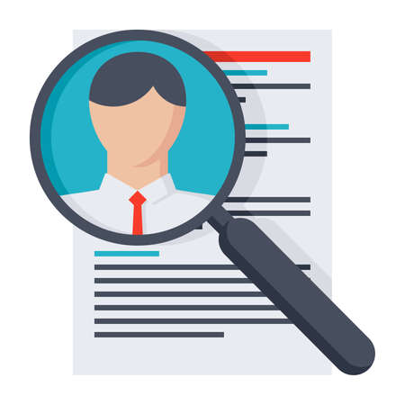 searching: Analysing resume personnel or searching professional staff. Stock Photo