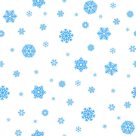 white winter: Seamless winter background with blue snowflakes on white background. Illustration