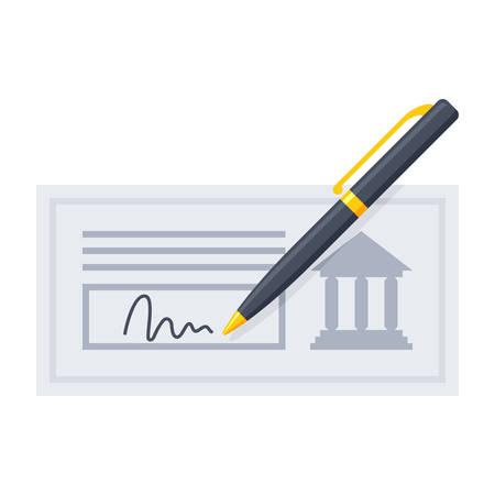 bank check: Vector illustration of bank check with golden pen and signature