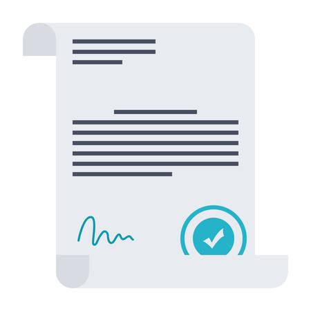 Acuerdo del asunto o contrato con el sello y la firma