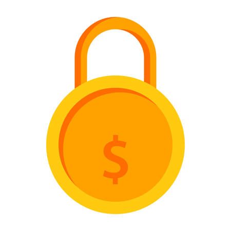 lock concept: Secured loan concept with golden lock and dollar sign