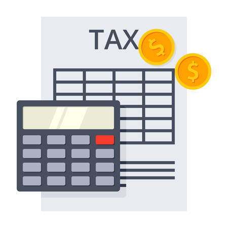tax form: Tax form with calculator and golden coins
