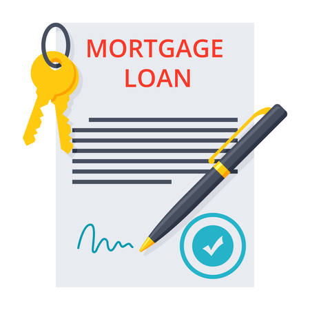 Mortgage loan concept with approved contract, pen and keys