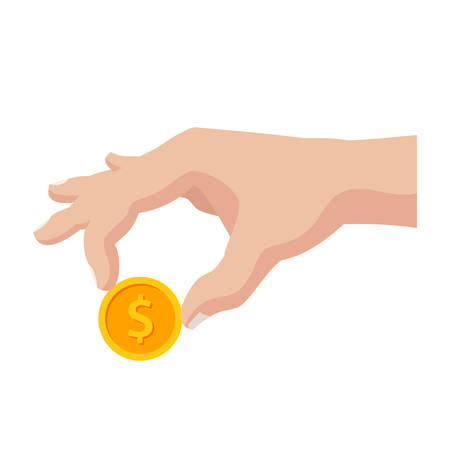 Vector illustration of male hand holding a golden coin Иллюстрация