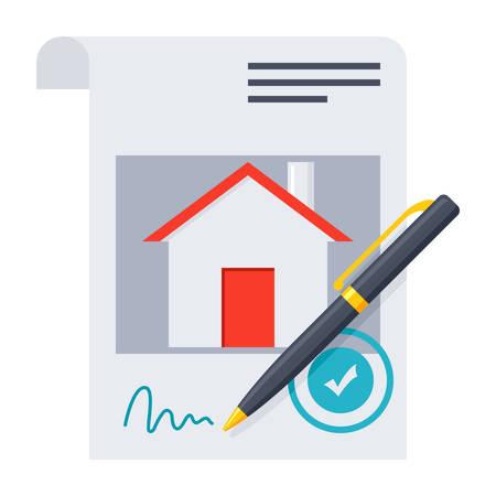 Hypothekarkredit Konzept mit genehmigten Vertrag und Stift Vektorgrafik