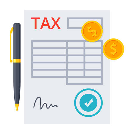 Tax form with pen and golden coins Illustration