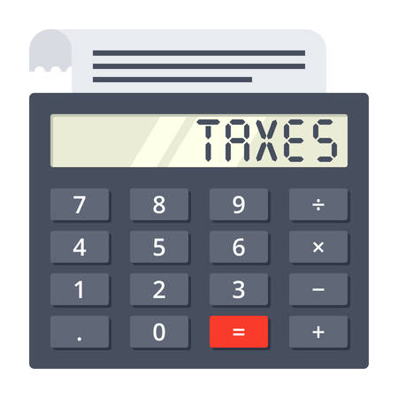 tax form: Calculator with tax form and word TAXES on display Illustration
