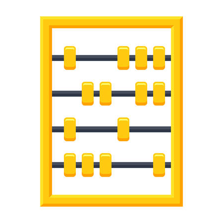 Calculating tool, abacus icon in flat style