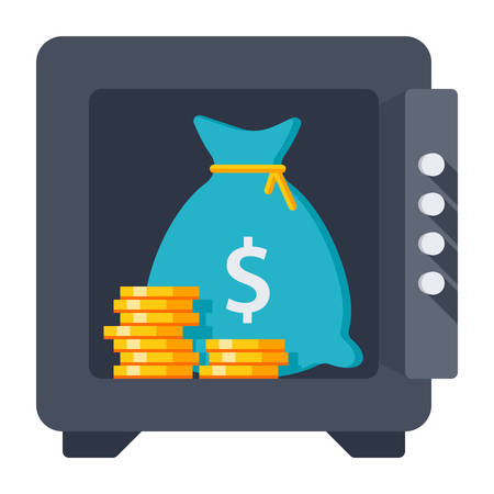 opened bag: Bank deposit concept with coins and money bag in safe