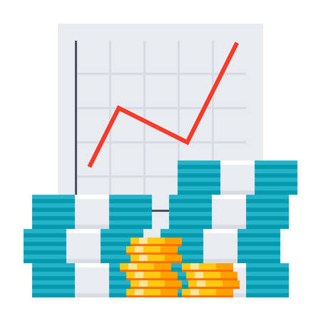 Bookkeeping concept with growth chart and money