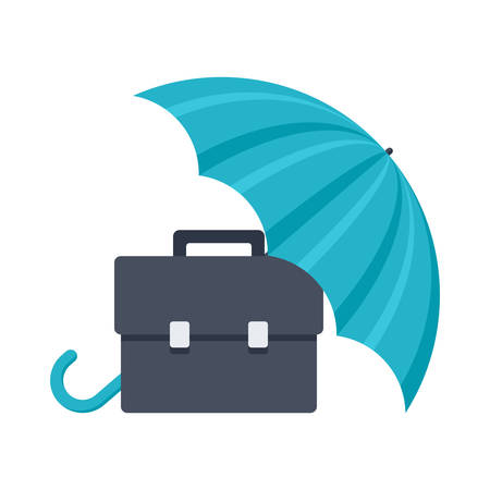 Business insurance concept with umbrella covering briefcase Vectores