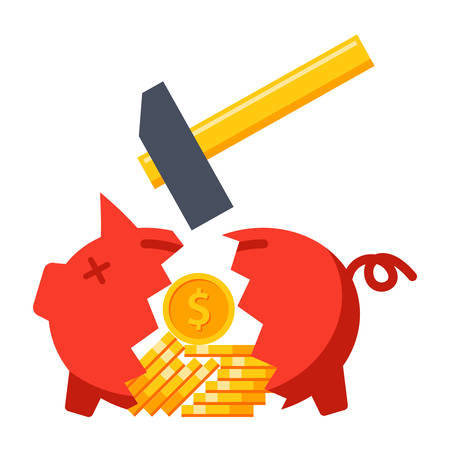 Hammer breaking piggy bank with gold coins