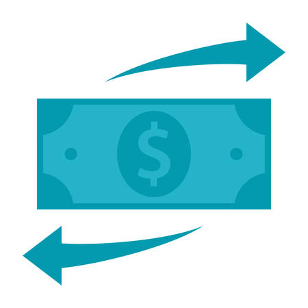 cost savings: Dollar with arrows concept for funds transfer